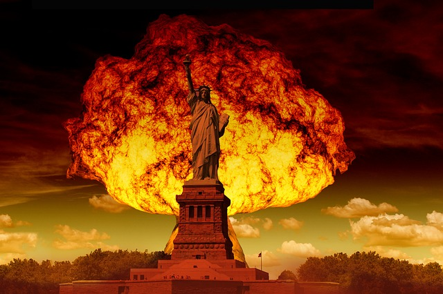 Statue Of Liberty Mushroom Cloud Atomic Bomb
